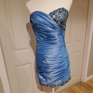 Rouched rhinestone cocktail dress